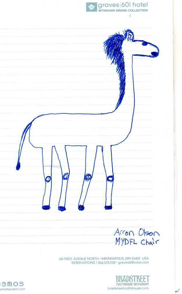 Fmr. MYDFL chairman Arron Olson's pretty awful giraffe drawing