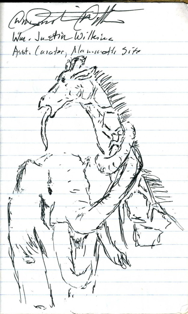 A wooly mammoth choking to death a giraffe drawn by William Wilkins from the Hot Springs mammoth excavation site in South Dakota