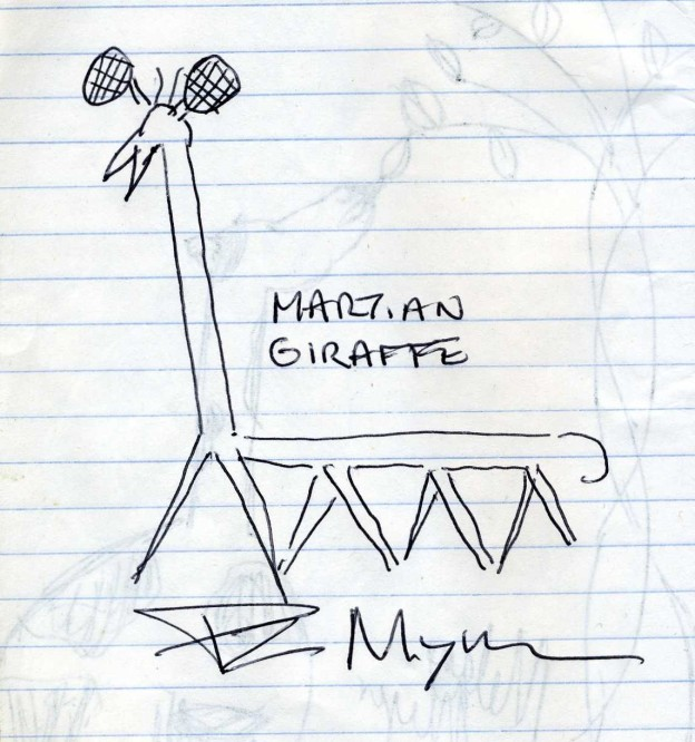 A martian giraffe drawn by PZ Myers