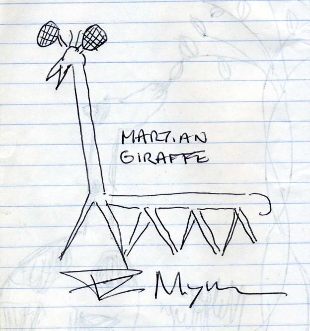 A martian giraffe drawn by PZ Myers