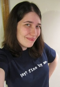 "Jen McCreight wearing a ""Gay? Fine by me."" t-shirt"