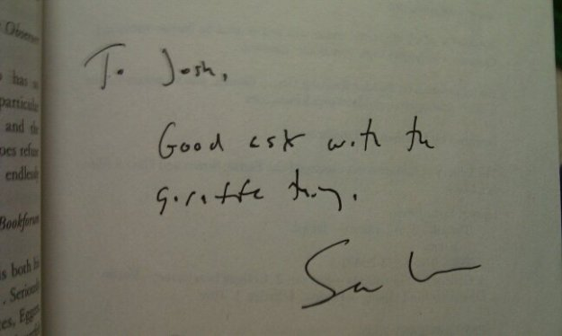 Sam Lipsyte's inscription to Josh Preston's copy of The Ask (4-8-11)